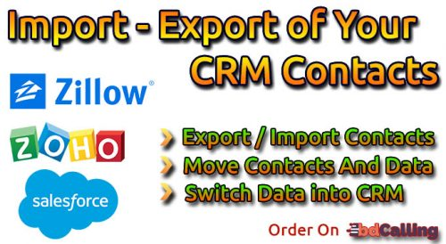 Import - Export Of Your CRM Contacts (Zoho, Salesforce, Pipedrive Etc.)